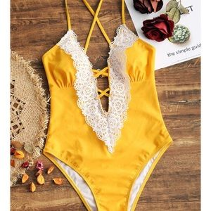 Yellow and Lace one piece bathing suit
